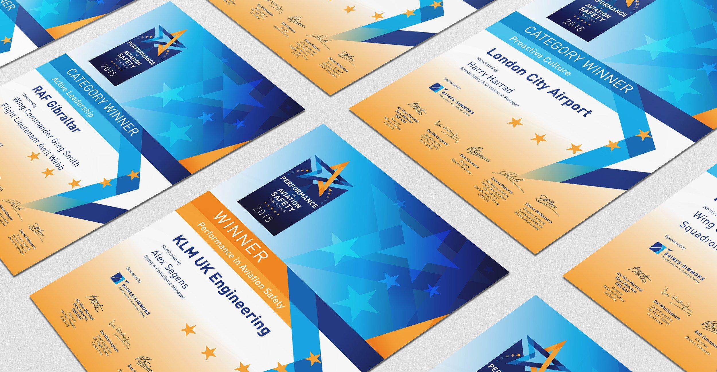 European Aviation Safety Symposium Award Certificates
