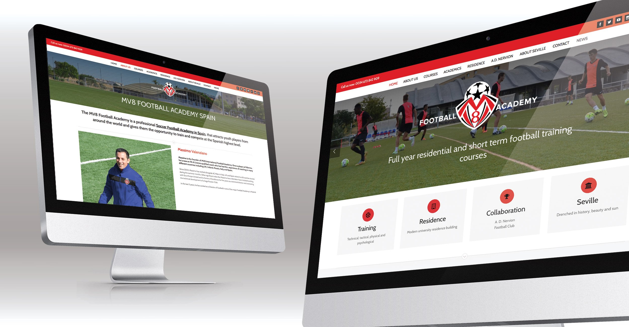 MV8 Football Academy Website Design
